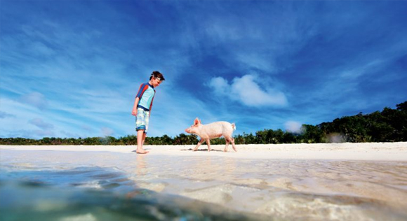 boy at Pig Beach